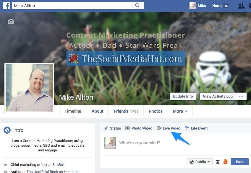 To start a broadcast to your Facebook profile from desktop, simply go to your profile and click on Live Video.