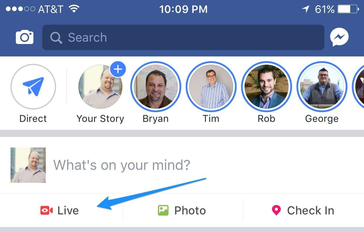 "Simply open your Facebook app and look for the ""Live"" icon just below the status update field."